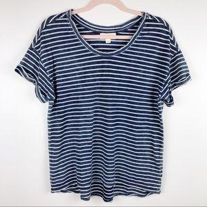 Anthro Cloth & Stone Blue Striped T Shirt Sz XS